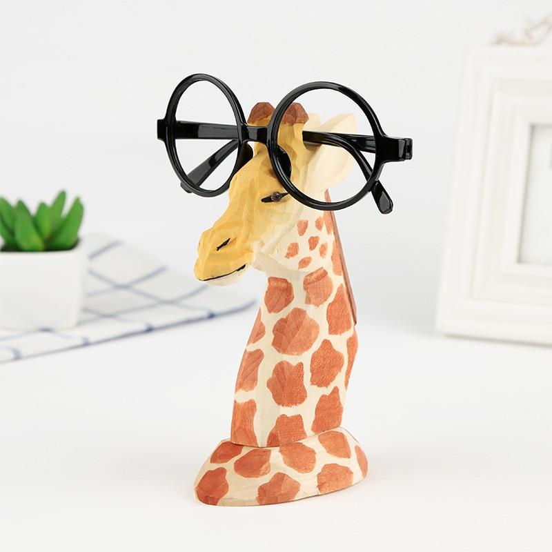 Wood Hand Carved Eyeglass Holder Handmade Nose Giraffe Stand For Office Desk Home Decor Gifts