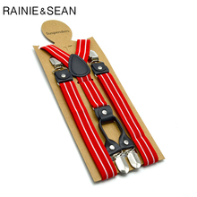 RAINIE SEAN Red Striped Suspenders Men Women Shirt Belt 4 Clips Mens Trousers Braces Male Pants Strap 2.5cm*120cm
