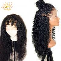 日光アフロ変態カーリーウィッグ 13 × 4 事前摘み取らレースかつら 150% 密度ペルーの Remy レースフロント人間毛は女性のため