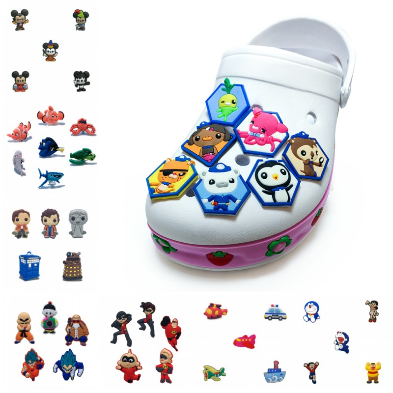 5-9pcs/lot Doraemon Octonauts Mickey Planes PVC Shoe Charms Shoe Buckle Shoes Accessories Decor For Bracelet Croc JIBZ Kids Gift