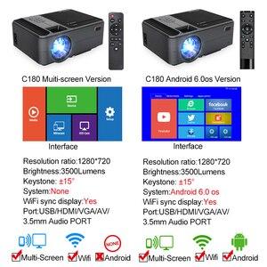 Image 2 - Caiwei C180AB 1280 × 720 1080pアンドロイドwifi proyectorポータブルledビーマーワイヤレスミニプロジェクタースマートフォンホームシネマ