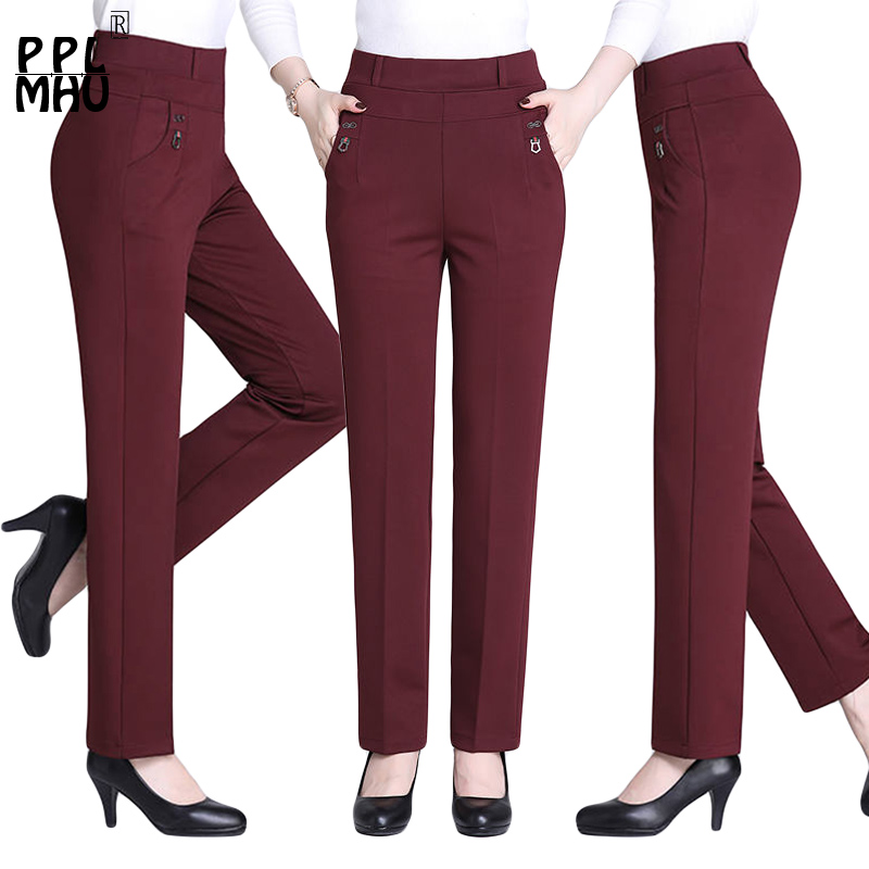 New Plus Size 5XL Mother Straight Pants Big Sale Solid Color High Elastic High Waist Tight Women's Office Autumn Pants