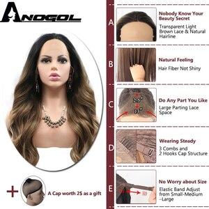 Image 2 - Anogol siyah Ombre kahverengi sentetik dantel ön peruk sarışın ipuçları uzun vücut dalga isıya dayanıklı peruk kadınlar için