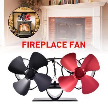 Black Fireplace Fan 8 Blades Heat Powered Stove Fan Log Wood Burner Eco Friendly Quiet Fan Home Efficient Heat Distribution