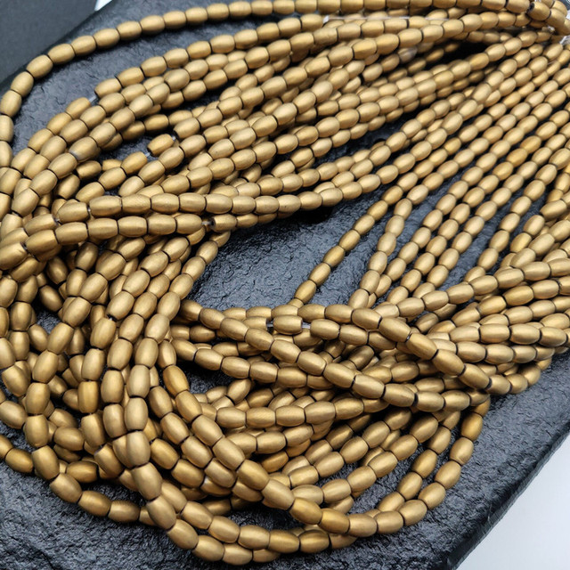 4x6mm Matte Gold Color Plated Hematite Rice Barrel Loose Beads