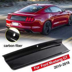 Fibra de carbono/gloss preto abs tampa traseira tronco decklid painel capa kit para ford para mustang 2015-2019 tronco boot tampa painel