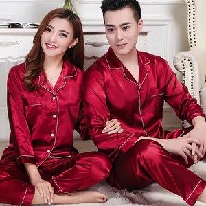 Image 4 - Новинка, пижамный комплект для пар, длинная и короткая Пижама на пуговицах, костюм для женщин и мужчин, домашняя одежда, Женский пижамный комплект