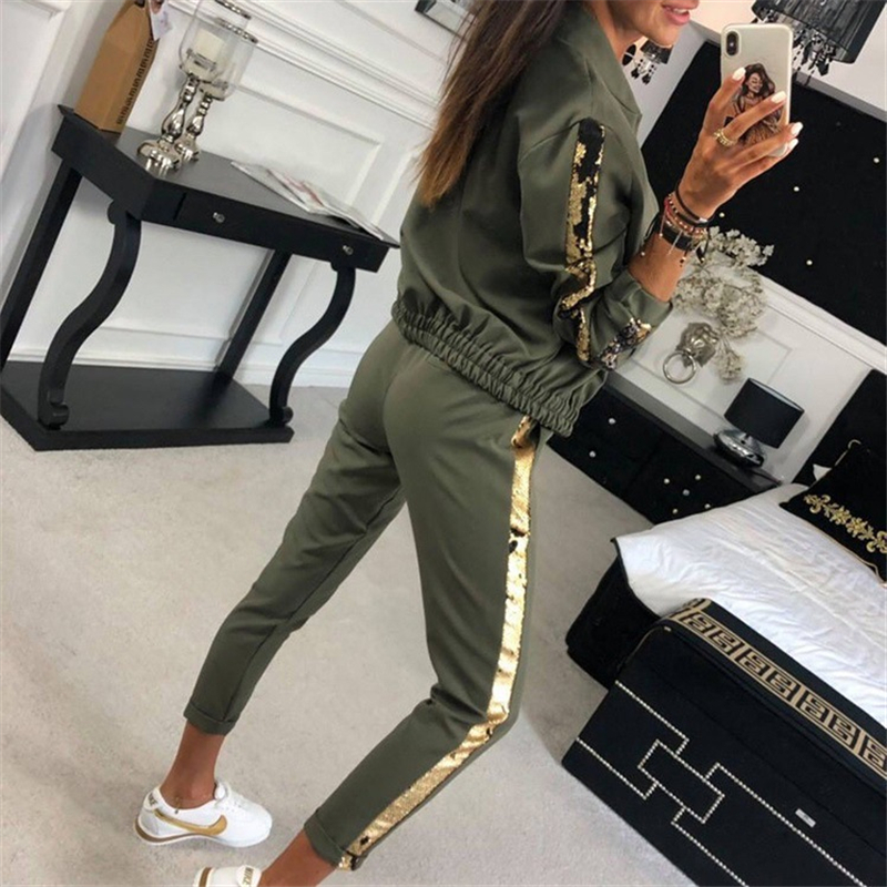 Two Piece Set Gold Side Stripe Tracksuit Zipper Top And Pants 2pcs Sweat Suits Women Streetwear Club Outfits Conjunto Feminino