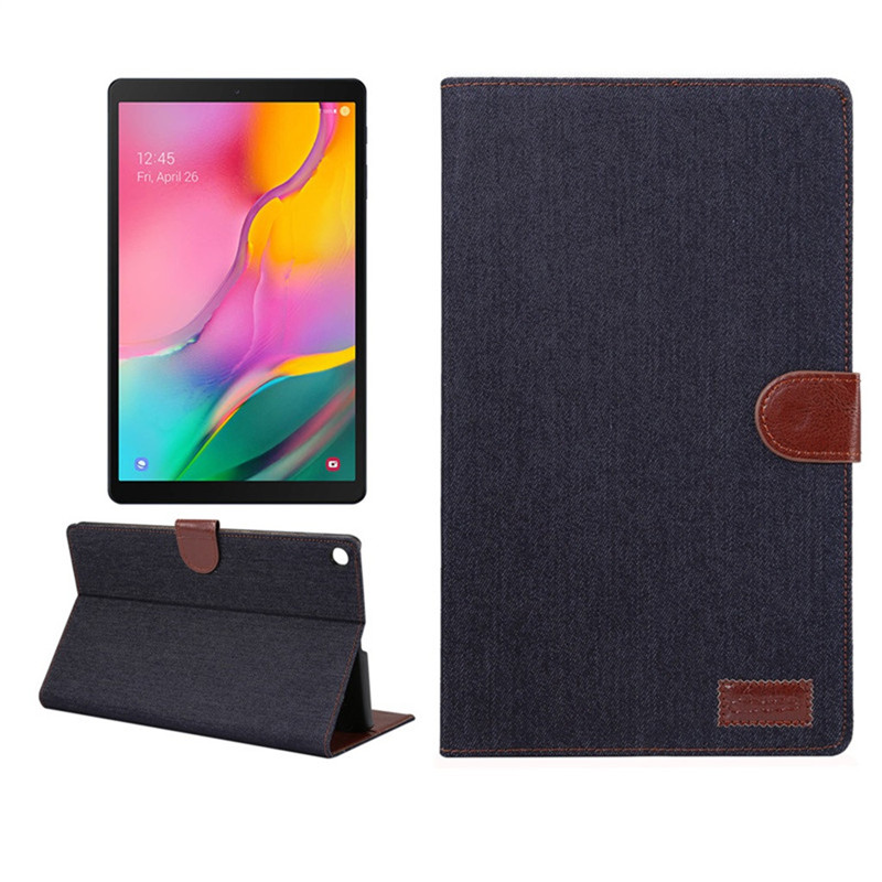 For Samsung Galaxy Tab A 10.1 Inch (2019) SM-T510 T515 Cover Luxury Denim Flat Tablet Case Leather Back Cases