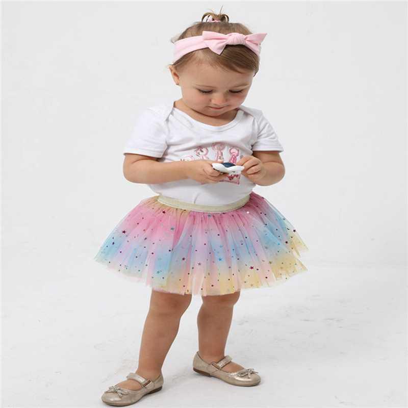 Kostiumy dla dzieci sukienki dla dziewczynek 2019 moda lato z krótkim rękawem halka Rainbow Pettiskirt Bowknot spódnica Tutu Tullue Dancewear