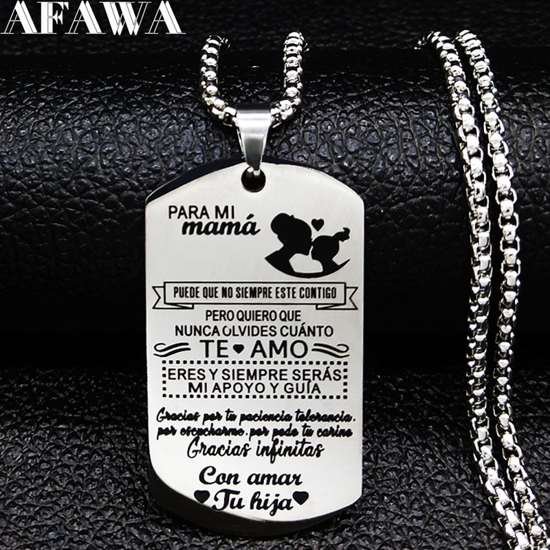 2019 Geometric Para Mi Mama Te Amo Stainless Steel Statement Necklace Men Jewely joyas de acero inoxidable para mujer N19358 in Pendant Necklaces from Jewelry Accessories