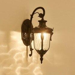 Styl europejski odkryty balkon ogród wodoodporna ściana lampa ogród willa klasyczne światło w Wewnętrzne kinkiety LED od Lampy i oświetlenie na