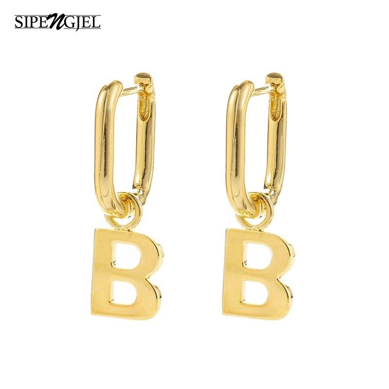 Neue Mode Punk alphabet Brief Ohrringe Geometrische Oval Kleine Hoop Ohrringe Für Frauen Vintage hip hop Schmuck 2020