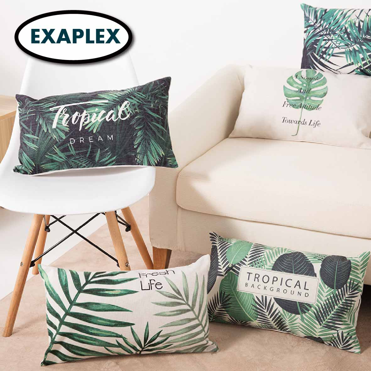 Double Side Printed Waist Lumbar Small Pillow Cotton Linen Blend Cartoon Stripes Tropical Plants European Style Pastoral