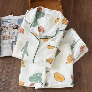 Image 1 - Bộ Đồ Ngủ Nữ Cotton Đồ Ngủ Mới Pyjama Set Nữ Dài Tay Pyjamas Nữ Cotton Sợi Pijama PJ Set Pijama mujer