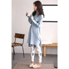 2020 Women  cotton home wear with long tops tight leave print pants spring autumn pyjama sets indoor clothing