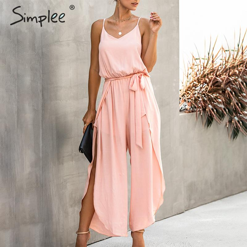 Simplee Elegant Sash Belt Women Jumpsuit Romper Spaghetti Straps Split Female Cotton Jumpsuit Spring Summer Ladies Overalls 2020