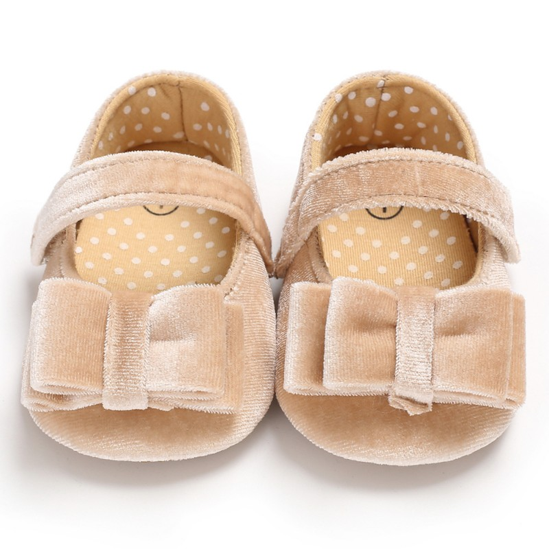 Infant Baby Shoes Soft Sole First Walkers Sold Flannel Non-slip Elegant Footwear Crib Newborn Toddler Princess Shoes