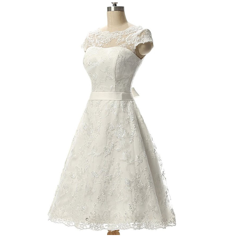 Bridesmaid-Gowns Party-Dress Wedding Lace Button Real Knee-Length Country Illusion Vestidos-De-Casament