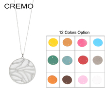 Cremo Long Chain Pendant Necklace Geometric Necklace Free Match Reversible Leather Necklace Women Necklaces & Pendants Jewelry 2019 fashion trendy geometric pendant leather chain necklaces
