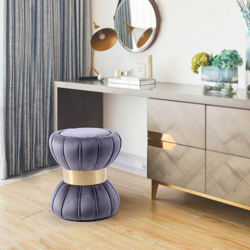 Europe Low Stool Makeup Dressing Stool Stainless Steel Round Stool Light Luxurious Shoes Bench Cloth Art Circle Footstool You