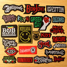 Nirvana Rock Band Patch Letter Stripe Iron On Patches For Clothing Hippie Music Embroidered Clothes Metal Bands Badge