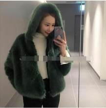 Vetement Women's Winter 2019 Vetement Overcoat Artificial Fur Coat Fox Fur Femme Jacket With Fur Cap Casual Furry Outwear AR91(China)