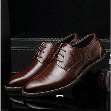 Мужские кожаные туфли Мужские модельные туфли свадебные туфли в деловом стиле оксфорды на шнуровке с острым носком на плоской подошве, большие размеры 38-45, AA-12