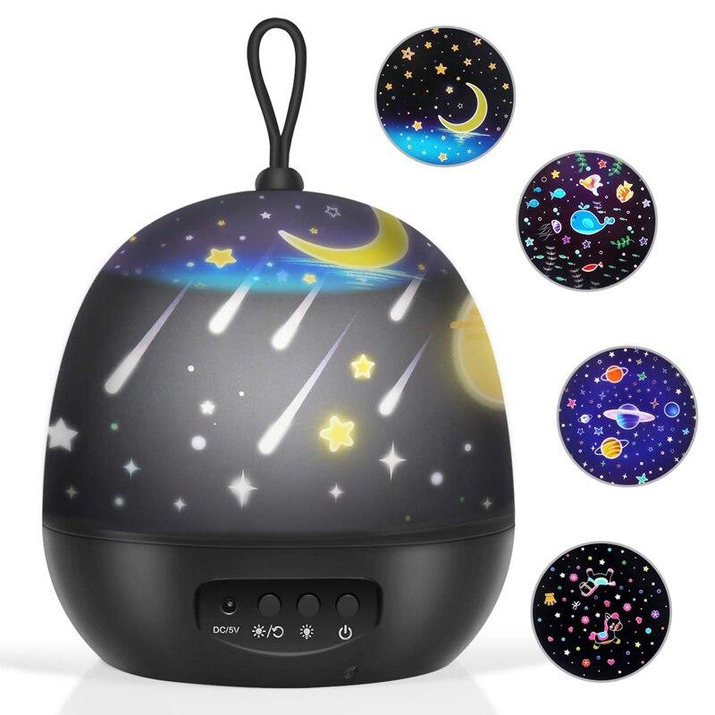 Детские ночные светильники, проектор, вращающийся на 360 градусов, 8 режимов освещения, 4 комплекта пленок, светодиодный ночник, светодиодный ...