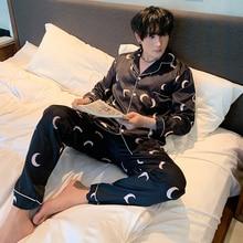 Мужчины% 27 пижамы комплект осень зима резинка талия мужские пижамы шелк мужчины 27% длинный рукав пижамы принт топ +% 2B длинные брюки домашняя одежда комплект