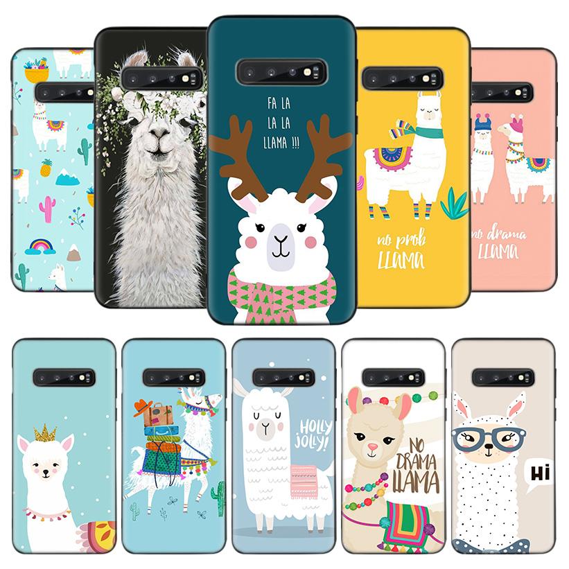 Cute Animal lama Llama Black <font><b>Phone</b></font> <font><b>Case</b></font> for <font><b>Samsung</b></font> Galaxy S20 Ultra S10E Note 10 9 8 S9 S8 J4 J6 J8 + Plus Lite <font><b>S7</b></font> S6 Coque image