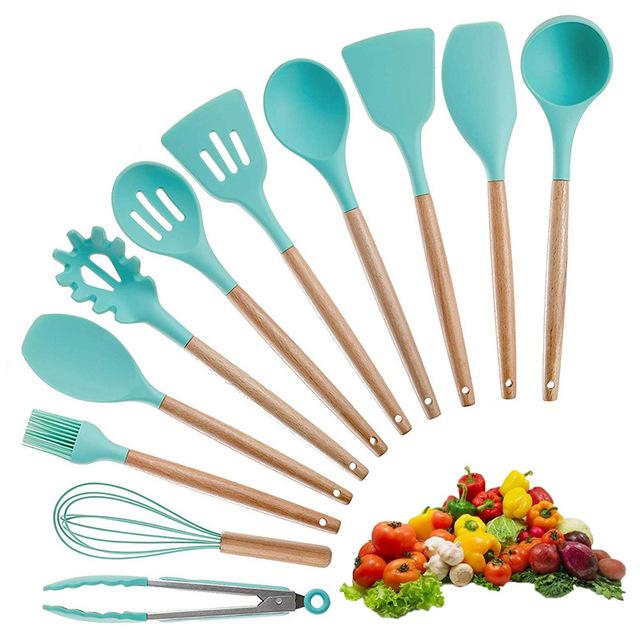 Food Grade Kitchen Supplies Wooden Handle Non-stick Pot Silicone Spatula Kit Gadget Spatula Tongs Soup Ladle Utensils Cookware