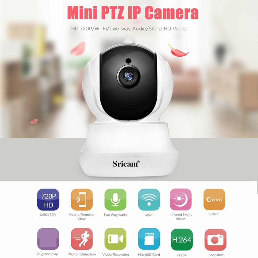 Sricam SP020 720P HD PTZ IP Security Indoor Camera IR-CUT Wedcam WiFi Wireless Camera Home Surveillance Baby Monitor