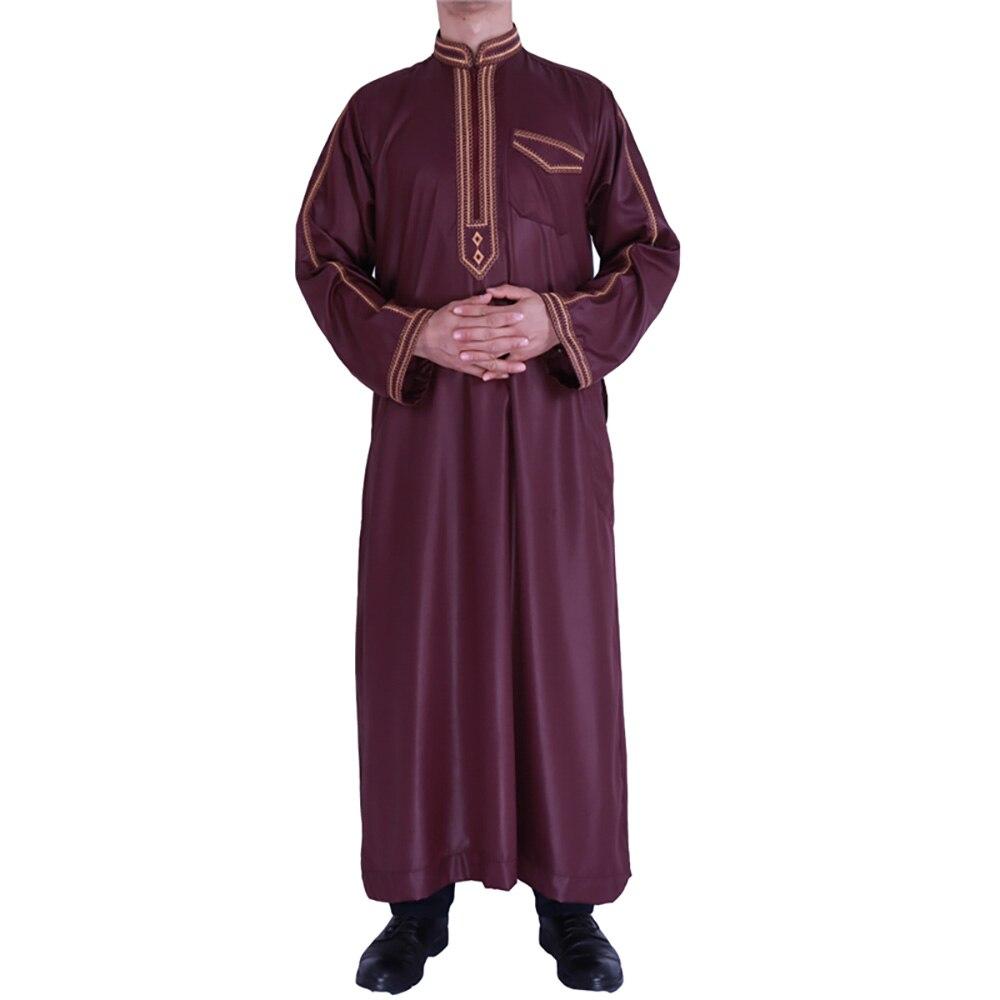 Zip Front Jubba Thobe Kaftan Dress For Men Nigerian Style Islamic Muslim Fashion Shiny Material Embroidery Qamis Man Djellaba 2