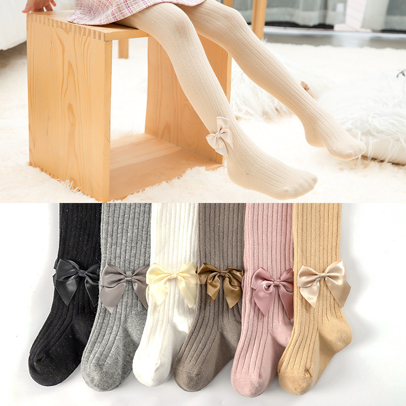Cotton Children Pantyhose Spring Summer Pure Color Bowknot Deco Black Tights For Girls Knitted Cute Kids Stockings Suitable 2-8Y