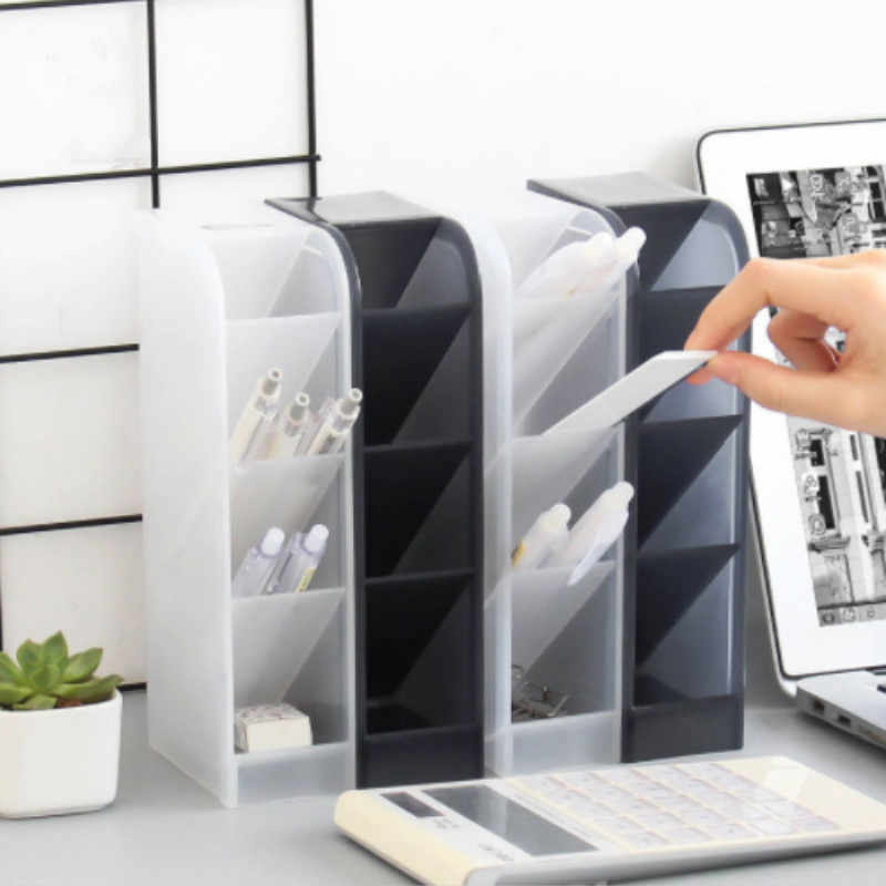 Multi-Funzione 4 Griglia Desktop Supporto Della Penna Ufficio Scuola di Caso di Immagazzinaggio Trasparente Bianco Nero Scatola di Plastica Scrivania Penna Matita supporto