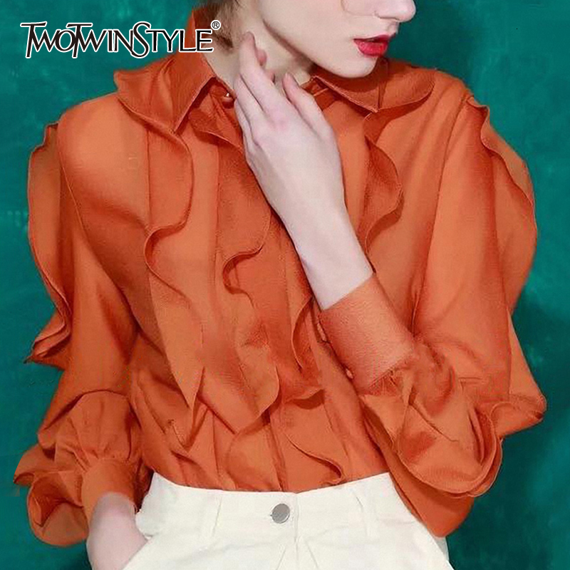 TWOTWINSTYLE Patchwork Ruffles Blouses Female Lapel Collar Lantern Long Sleeve Irregular Shirts Women 2020 Clothing Fashion Tide
