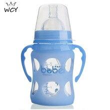 150ml Top Qualität Glas Flasche Arc Typ Breiten Mund Baby Fütterung Flaschen mit Griff 6-24M Infantil biberones Para Bebe