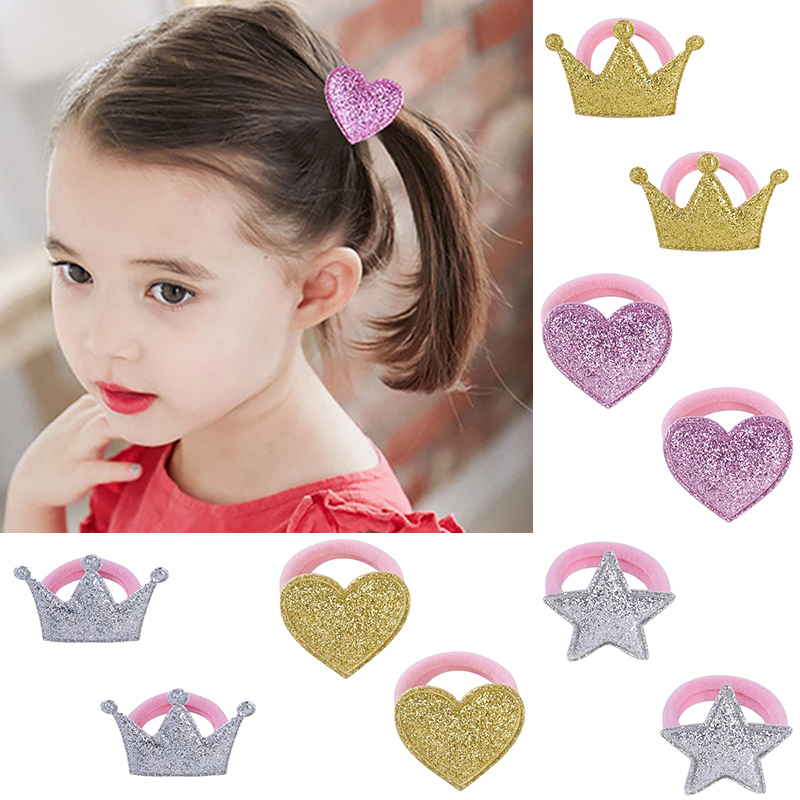 1Pair Children Hair Ropes Pink Baby Headdress Elastic Golden Star Hair Bands Crown Heart Adjustable Princess Silver Hair Rope