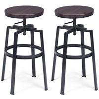 Costway Set of 2 Vintage Bar Stool Adjustable Wood Metal Design Pub Chairs Industrial