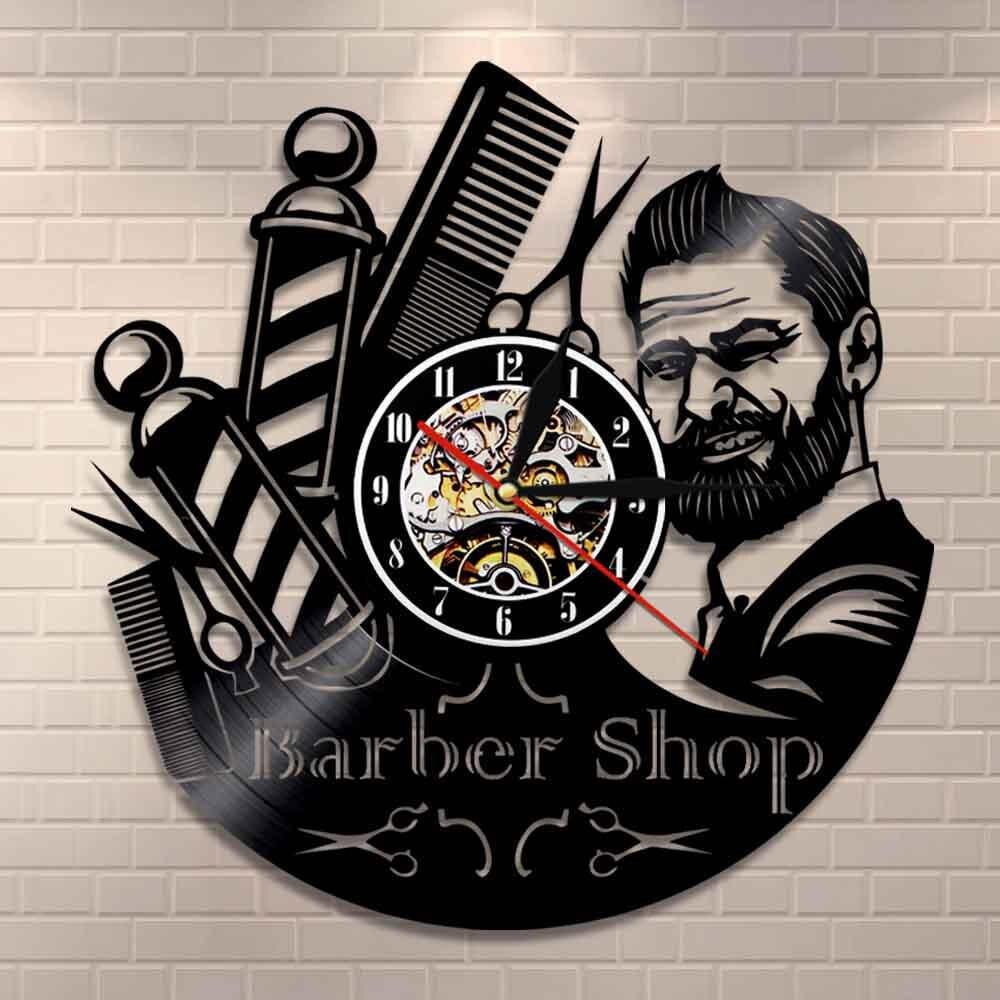 Barber Shop Sign Wall Clock Barbers Pole Vinyl Record Wall Clock Hair Salon Stylist Hair Tools Scissors Barber Shop Artwork Gift