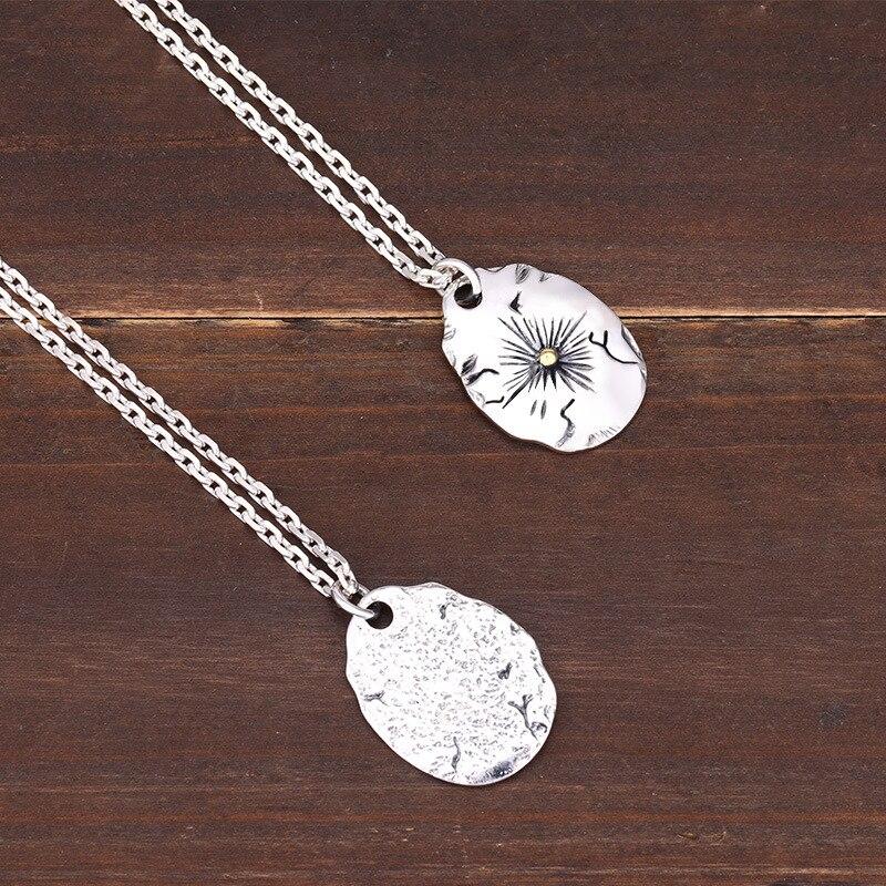 S925 pendentif en argent sterling bijoux personnalité rétro style indien plume volante aigle couple étiquette forme pour envoyer le cadeau de l'amant - 4