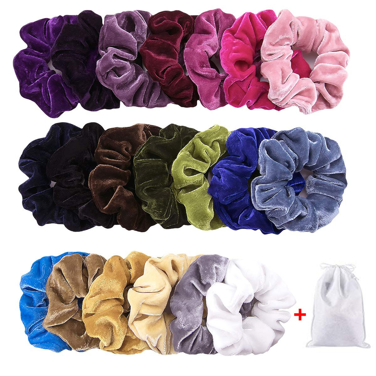 Shimmers Premium Soft Black Velvet Soft Hair Scrunchie Ruffle Band