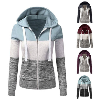 Women Sweatshirts Autumn Winter Hoodies Long Sleeve Hoody Ladies Zipper Pocket Patchwork Hooded Sweatshirt Female Outwear