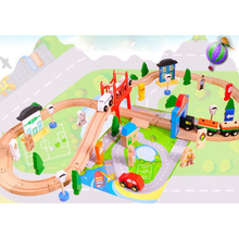 Wooden 80PCS DIY Track Train Set Toy Railway  Wood Puzzles educational Toys for Kids track toy educational toys for children electric train track set magnetic educational slot brio railway wooden train track station puzzles car toys for kids children