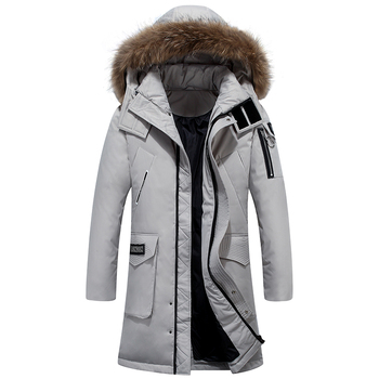 Fashion Real Fox Fur Collar Mens Winter Coats and Jackets Plus Size Thick Warm Long Parka Winter Down Jacket Men Windbreaker image