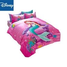 Pink Disney Cartoon Mermaid Ariel Printed Bedding Sets for girls Bedroom Decor Cotton Bedspread Sheet Covers Single Twin Queen