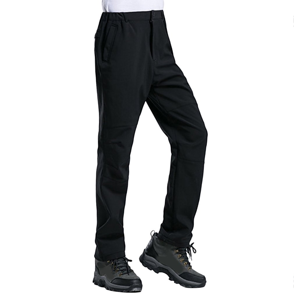 Winter Men Pants Solid Color Zipper Closure Elastic Waist Thick Soft Warm Trousers Outdoor Sports Long Pants