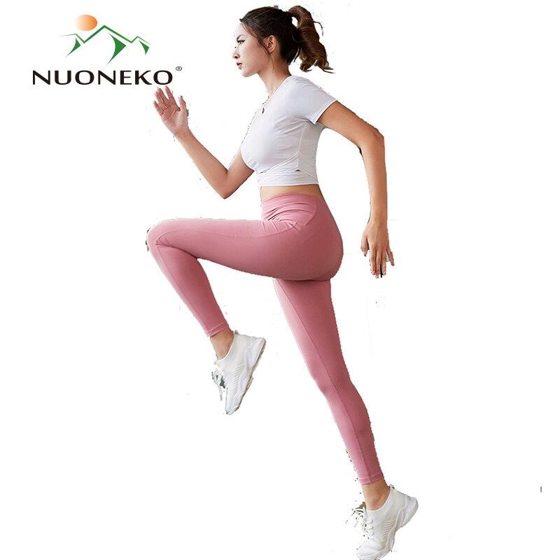 NUONEKO Women Yoga Sets Sexy Elastic Gym Running Tracksuits Fitness Workout Clothing Sportswear Bra Leggings Sports Set NT029