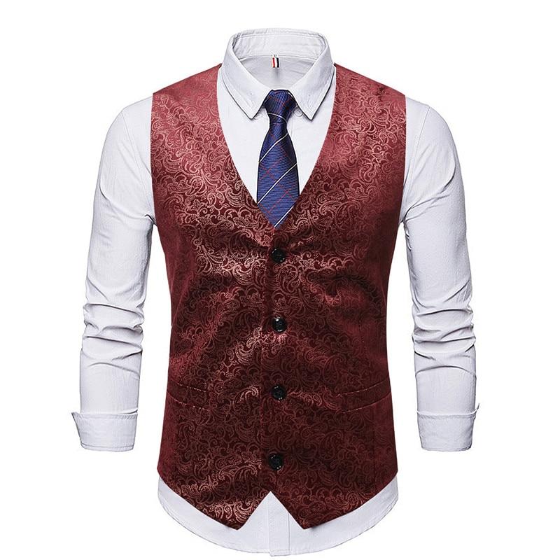 Men Vest Chalecos Para Hombre Spring And Autumn New Slim Printed Suit Vest Men's Business Gentleman Single-breasted Suit Vest